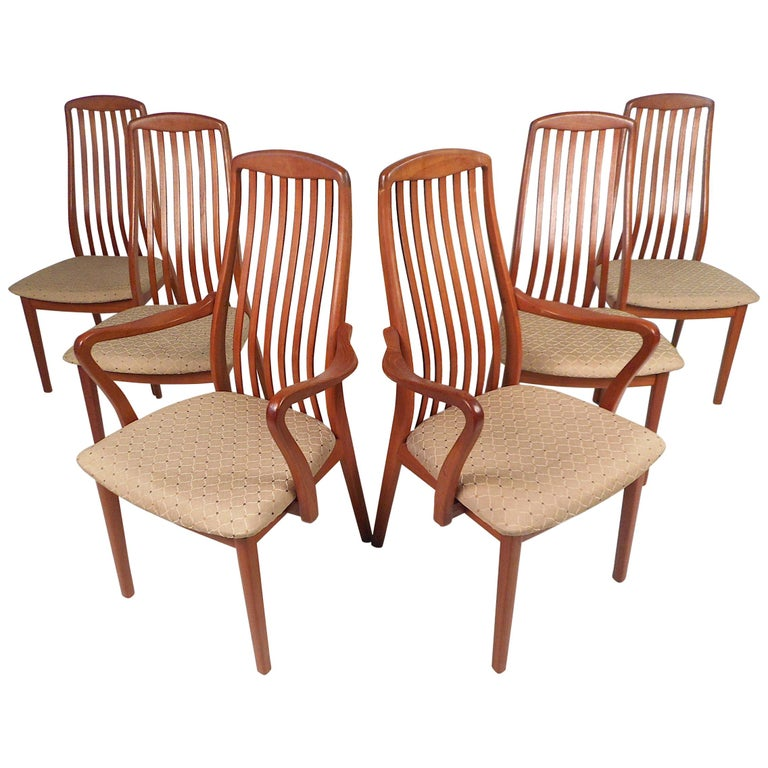 Danish Modern Style Dining Chairs, Set of 6 For Sale