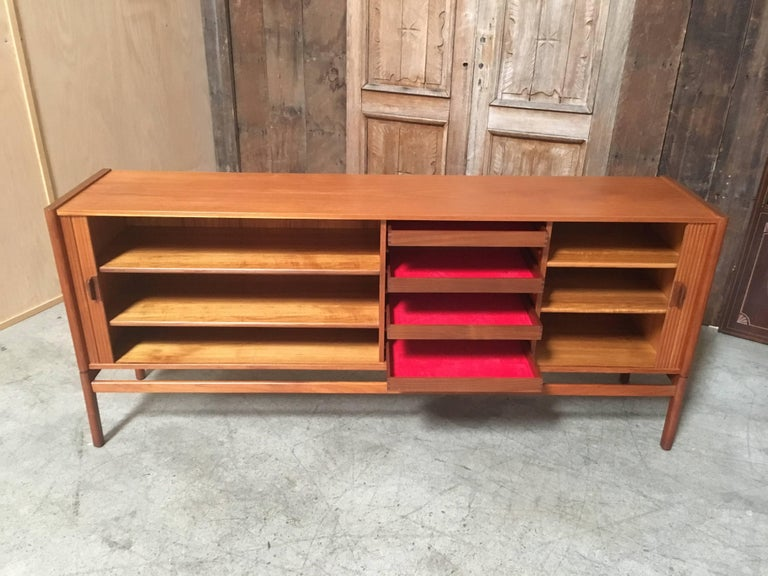 Danish Style Credenza : Danish modern style teak credenza with tambour doors for sale at 1stdibs