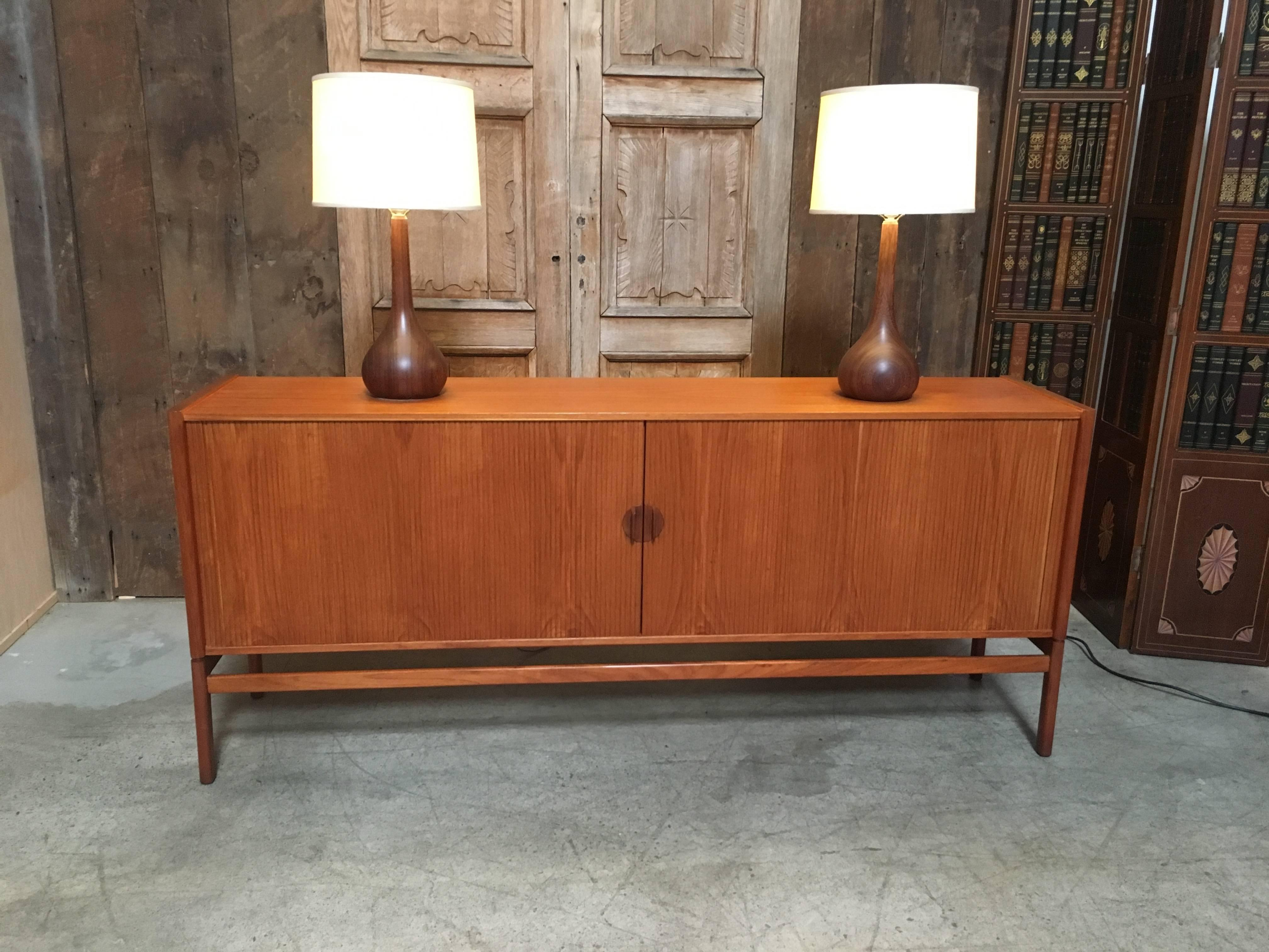 Danish Style Credenza : Danish modern style teak credenza with tambour doors at stdibs