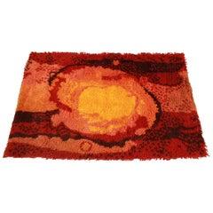 Danish Modern Sunburst Rya Wool Shag Rug