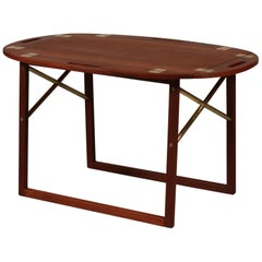 Danish Modern Svend Langkilde Butlers Tray of Teak with Brass Fittings, 1960s