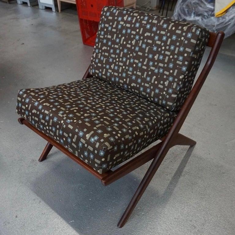 Fabric Danish Modern Swedish Folke Ohlsson DUX Scissor Chair For Sale
