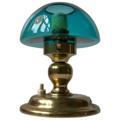 Danish Modern Table Lamp in Turquoise Glass and Brass from ABO, 1970s
