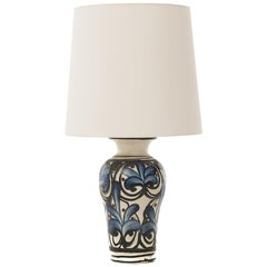 Danish Modern Table Lamp with Hand Painted Floral Motif