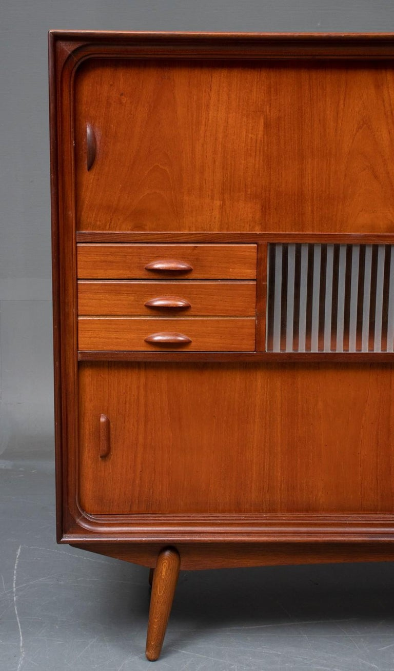 Lacquered Danish Modern Tall Midcentury Teak Sideboard or Credenza in Teak and Oak For Sale
