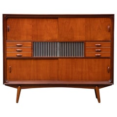 Danish Modern Tall Midcentury Teak Sideboard or Credenza in Teak and Oak