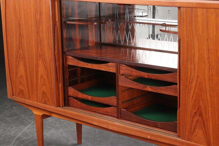Lacquered Danish Modern Tall Midcentury Teak Sideboard or Credenza in Teak For Sale