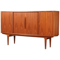 Danish Modern Tall Midcentury Teak Sideboard or Credenza in Teak