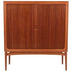 Danish Modern Tambour-Door Teak Cabinet Credenza