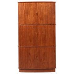 Danish Modern Tambour-Door Teak Corner Cabinet