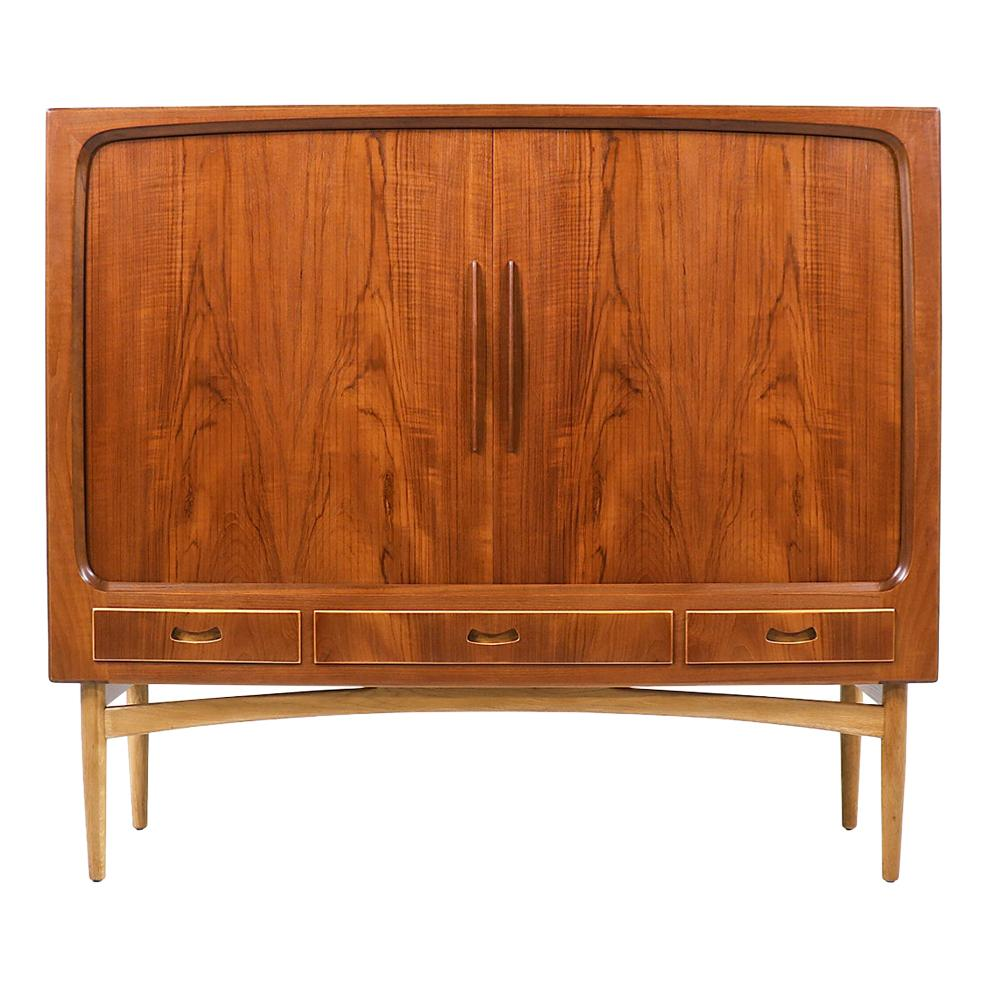 Danish Modern Tambour-Door Teak & Oak Cabinet Credenza