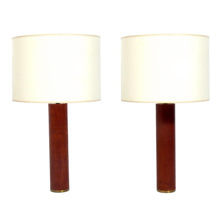 Danish Modern Teak and Brass Lamps  For Sale