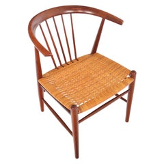 Danish Modern Teak and Cane Armchair