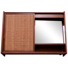 Danish Modern Teak and Cane Wall Mounted Mirror or Hallway Cabinet