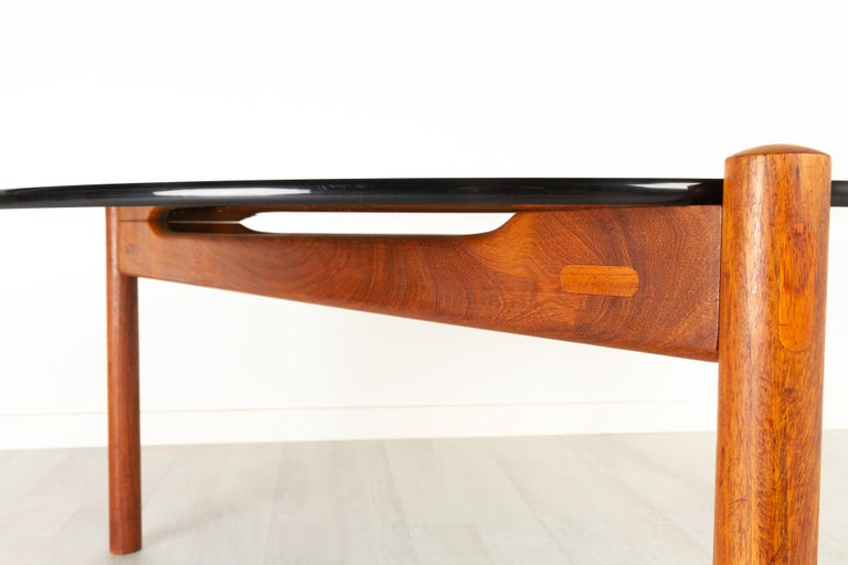 Danish Modern Teak and Glass Coffee Table by Komfort, 1960s For Sale 5