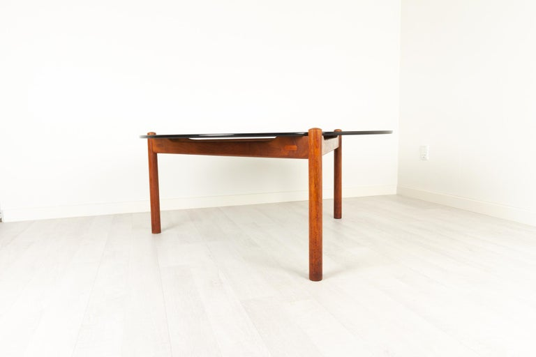 Mid-Century Modern Danish Modern Teak and Glass Coffee Table by Komfort, 1960s For Sale