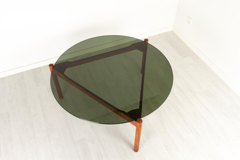 Mid-20th Century Danish Modern Teak and Glass Coffee Table by Komfort, 1960s For Sale
