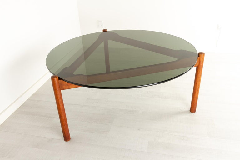 Smoked Glass Danish Modern Teak and Glass Coffee Table by Komfort, 1960s For Sale