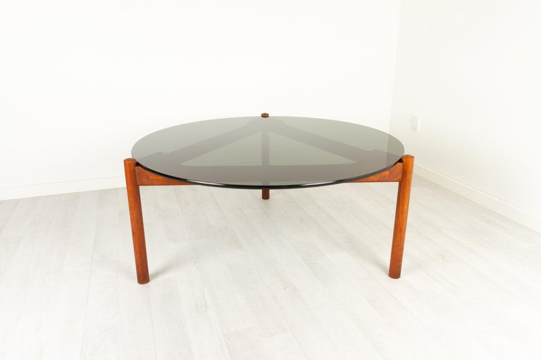 Danish Modern Teak and Glass Coffee Table by Komfort, 1960s For Sale 3