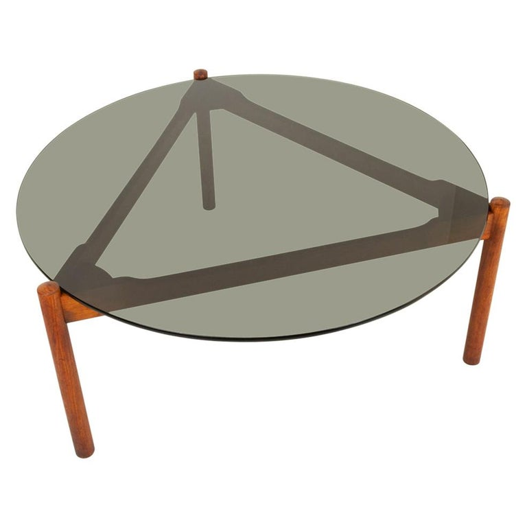 Danish Modern Teak and Glass Coffee Table by Komfort, 1960s For Sale