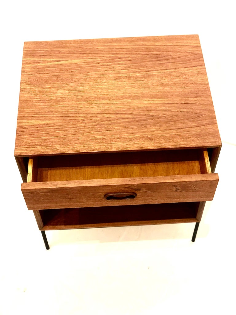Canadian Danish Modern Teak and Iron Single Nightstand For Sale