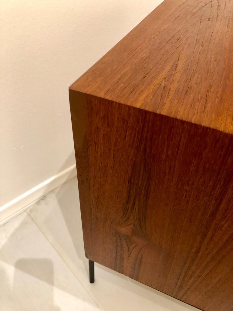 Danish Modern Teak and Iron Single Nightstand In Good Condition For Sale In San Diego, CA