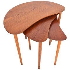 Danish Modern Teak and Oak Crescent Nesting Tables