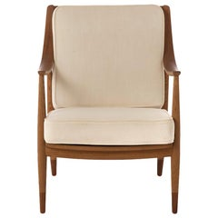Danish Modern Teak and Oak Lounge Chair, Sweeping Arms Hvidt & Molgaard Design