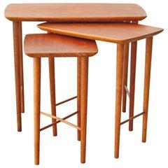 Danish Modern Teak and Oak Nesting Tables, 1960s