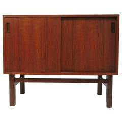 Danish Modern Teak and Rosewood Sliding Door Credenza Cabinet, 1960s