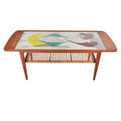 Danish Modern Teak and Tile Midcentury Coffee Table with Cane Rack