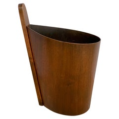 Danish Modern Teak and Walnut Handled Wastepaper Basket, by P. S. Heggen