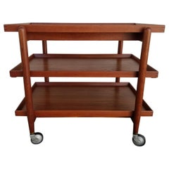 Danish Modern Teak Bar Cart by Poul Hundevad