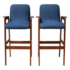 Danish Modern Teak Bar Stool Chairs