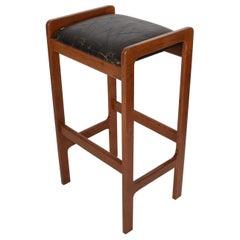 Danish Modern Teak Bar Stool with Leather Seat