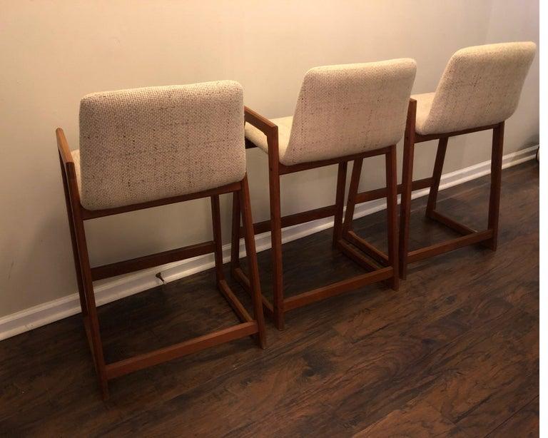 Danish Modern Teak Bar Stools, Set of 3 For Sale 9
