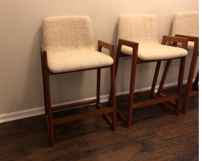 Danish Modern Teak Bar Stools, Set of 3 In Good Condition For Sale In Los Angeles, CA