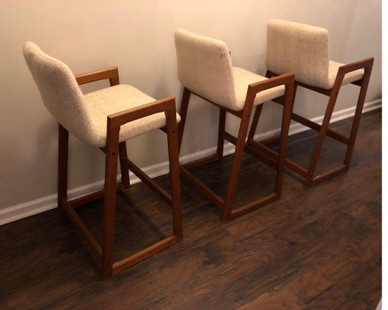 Danish Modern Teak Bar Stools, Set of 3 For Sale 1