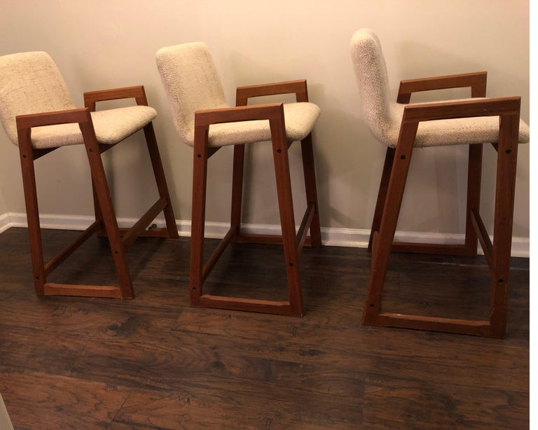 Danish Modern Teak Bar Stools, Set of 3 For Sale 2