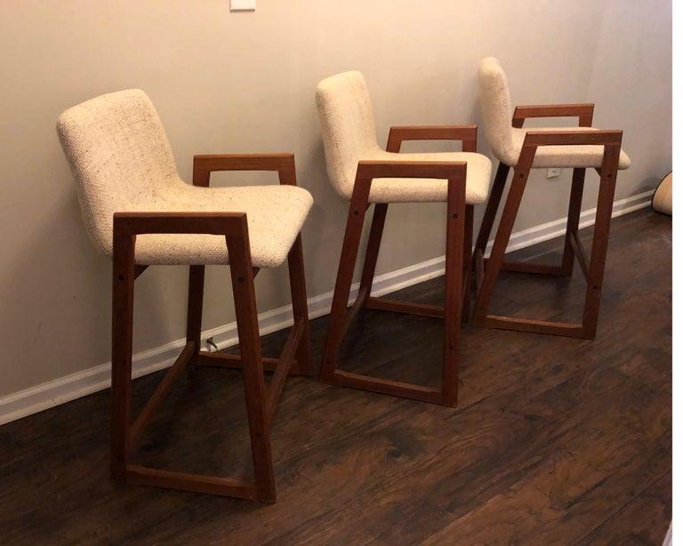 Danish Modern Teak Bar Stools, Set of 3 For Sale 4