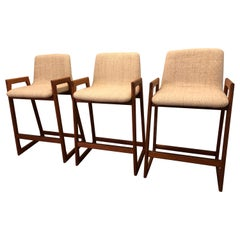 Danish Modern Teak Bar Stools, Set of 3