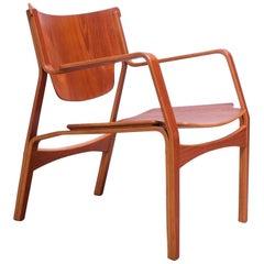 Danish Modern Teak Bentwood Sculptural Armchair