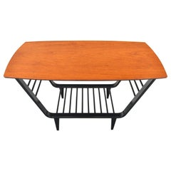 Danish Modern Teak and Black Lacquer Tall Coffee Table