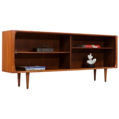 Danish Modern Teak Bookcase with Glass Doors by Bernhard Pedersen