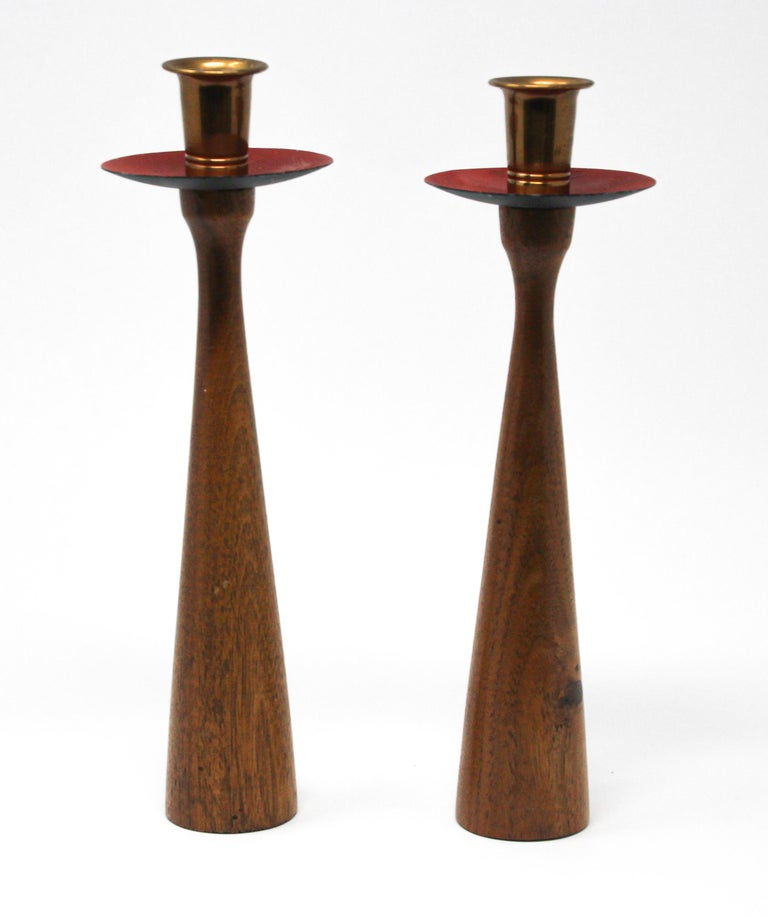Midcentury Danish modern teak and brass candleholders in Rude Osolnik style.