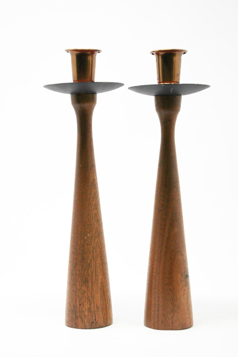 Danish Modern Teak Candleholder, Rude Osolnik In Good Condition In North Hollywood, CA