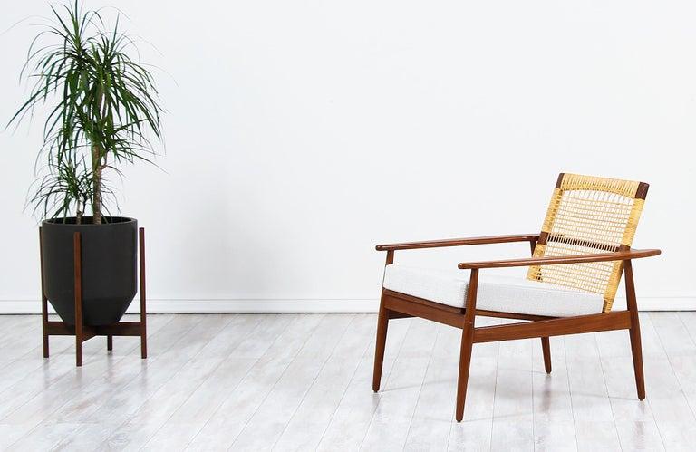 . Danish Modern Teak and Cane Lounge Chair by Hans Olsen for Juul Kristensen