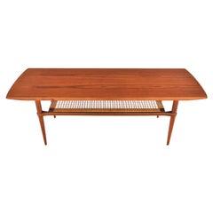 Danish Modern Teak and Cane Surfboard Coffee Table