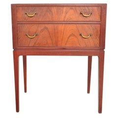 Danish Modern Teak Chest with Brass Pulls