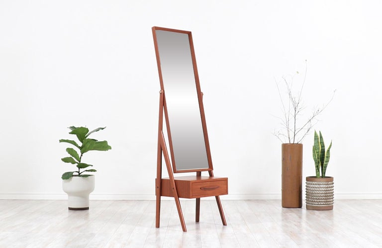 Mid-Century Modern Danish Modern Teak Cheval Dressing Mirror For Sale
